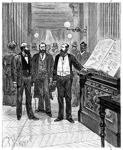 Adventures of an heir worldwide, The entry in the register of the hotel, vintage engraved illustration. Journal des Voyage, Travel Journal, (1880-81).