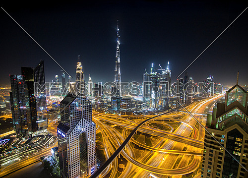 Extreme long shot for Dubai the City at night with long exposure lights