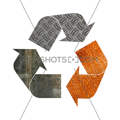 Illustration recycling symbol of different industrial metal construction materials isolated on white background