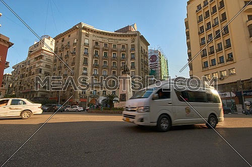 low angel Shot for Traffic at Mohammed Farid Square at Cairo at Day