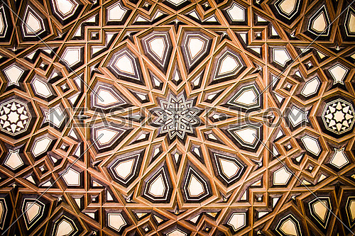 A detail showing the perfection in crafting the wooden Menbar of El-Soltan Hassan Mosque, Cairo, Egypt