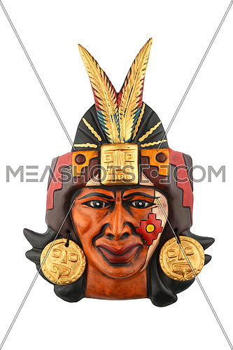 Indian Mayan Aztec ceramic painted mask with feather isolated on white