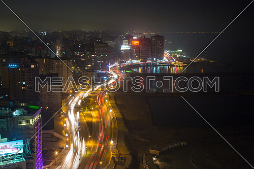 Long Shot for traffic in Kornich at Alexandria at night