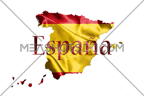 Spanish National Flag and Map With Country Name Written On It 3D illustration