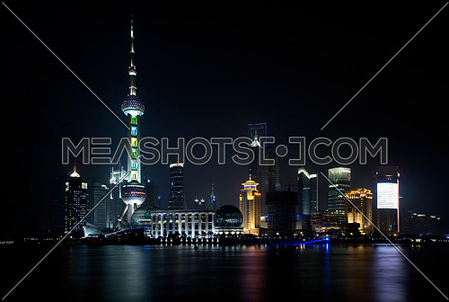 shanghai pudong side skyline by night illuminated for chinese new year