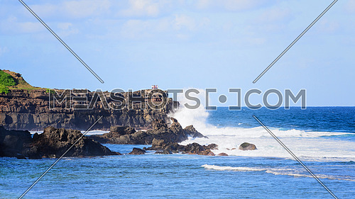 Mauritius island, gris-gris beach  wihere spectacular waves crashing on the cliff.
