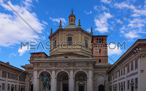 Saint Lawrence (San Lorenzo ) Cathedral and the statue of Emperor Constantin in Milan