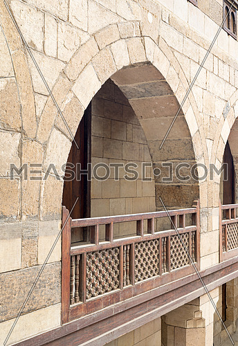 Arch with wooden balustrades, caravansary (Wikala) of al-Ghuri,