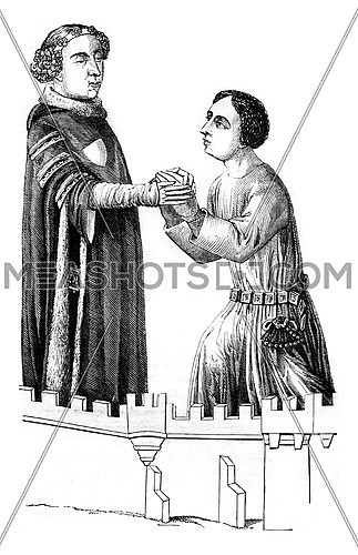 Louis ii bourbon receiving homage to one of his vassals, vintage engraved illustration. Magasin Pittoresque 1846.
