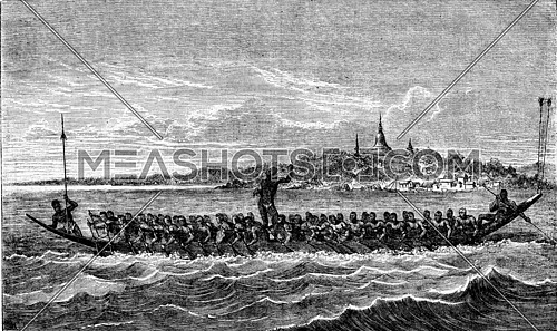 Canoe racing in Cambodia, vintage engraved illustration. Magasin Pittoresque 1873.