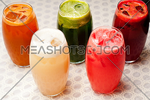 selection of fresh  fruits colorful long drink cocktails