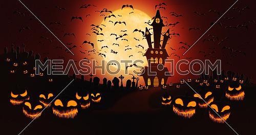 Halloween Pumpkins at Cemetery with Bats Flying Against Full Moon Sky with Haunted Mansion in the Background