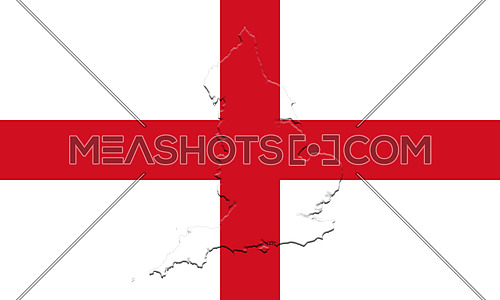 Flag of England With Map On It 3D illustration