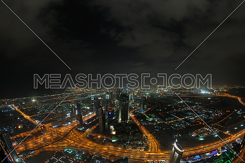 Panorama of down town Dubai modern city at night