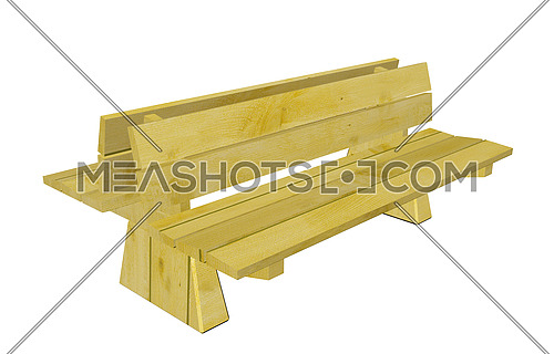Double wooden park bench, 3d illustration, isolated against a white background
