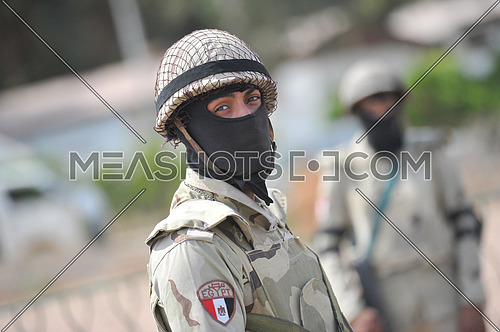 Soldiers from the Egyptian army to secure one of the polling stations on the last day of the Egyptian presidential elections in the city of Dahab in the province of South Sinai