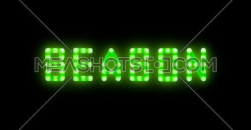 Close up green neon glowing bright led light SEASON sign on black background