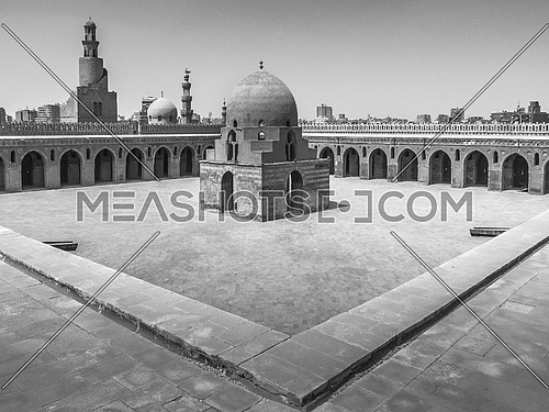 a black and white image of Ibn Tolon Mosque Old Cairo