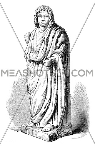 Ancient statue preserved in the Library of the city of Auch, vintage engraved illustration. Magasin Pittoresque 1852.