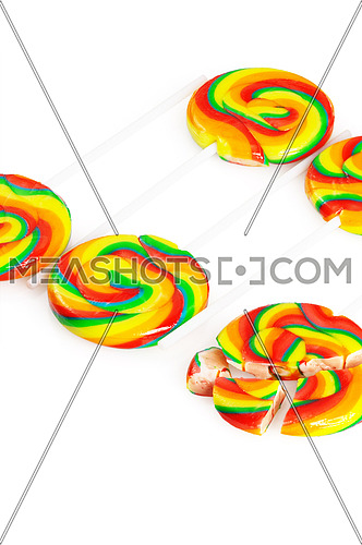 colorfull sugar lollipops isolated on white background