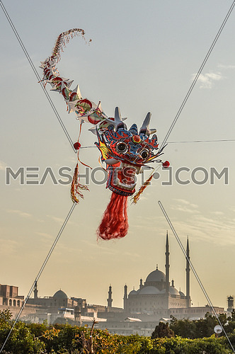 dragon shaped kite flying with background Mosque of Muhammad Ali citadel