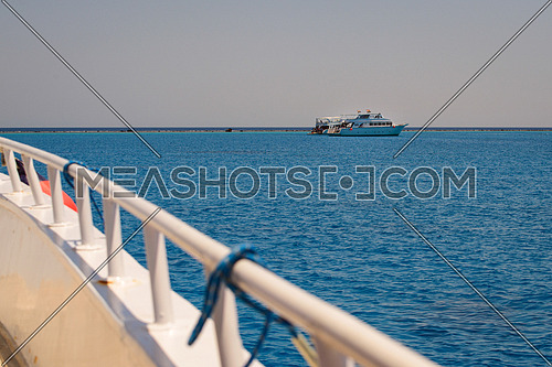 Tourists boat anchored in a bay in the red sea for snorkeling,luxury yacht.