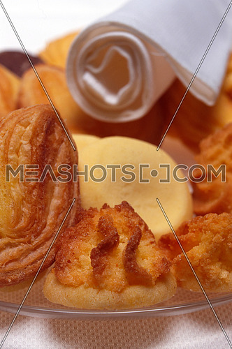 assortment of tea pastry on a dish closeup