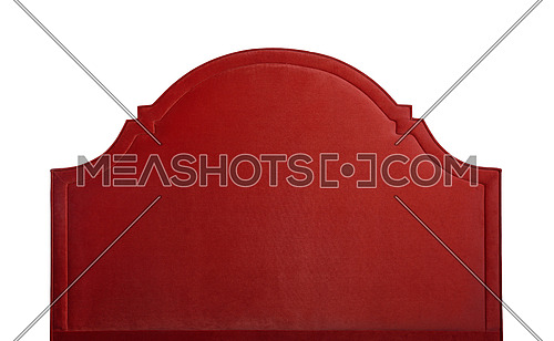 Shaped red soft velvet bed headboard isolated on white background, front view