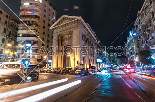 Fixed Low angel shot for Stock Market Bulding in Alexandria at night