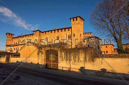 "Middle Ages castle ""Morando bolognini"" at sunset, built in the thirteenth century in Sant'Angelo lodigiano,Lombardy italy."