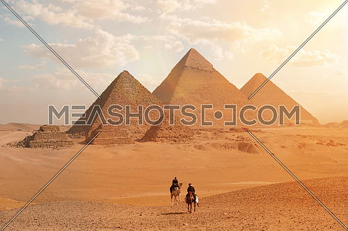 tourism police on camel and horse patrolling the area of giza pyramids in Egypt