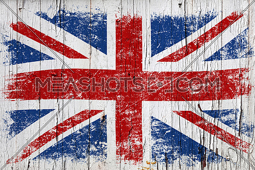 Grunge British flag on old weathered white painted wooden surface background