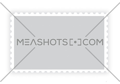 One old retro style grey blank paper postage stamp frame with shadow isolated on white background