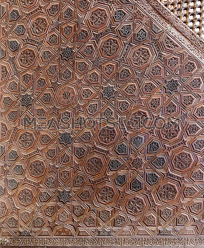 Arabesque ornaments of an old aged decorated wooden mimber (Platform), Ibn Tulun Mosque, Old Cairo, Egypt