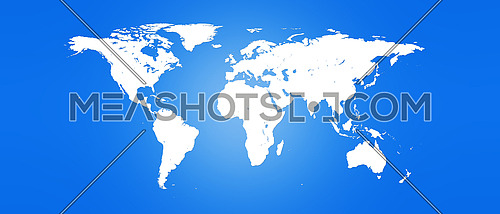 World Map White Silhouette Isolated on Blue Background 3D illustration