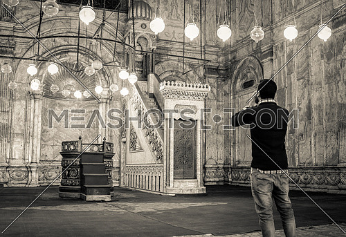 A man Calling for prayer in Mohamed Ali Mosque - Cairo