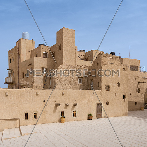 Cairo, Egypt - March 24 2018: Residential buildings at the Monastery of Saint Paul the Anchorite (aka Monastery of the Tigers), dates to the fifth century AD and located in the Eastern Desert, near the Red Sea mountains, Egypt
