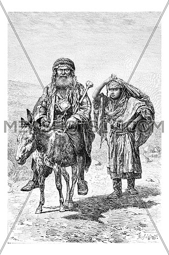 Mountaineer and Wife in Nablus in West Bank, Palestine, vintage engraved illustration. Le Tour du Monde, Travel Journal, 1881