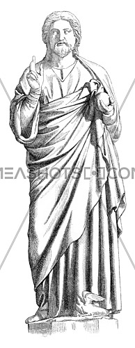 Reims Cathedral, Statue of Christ, vintage engraved illustration. Magasin Pittoresque 1869.