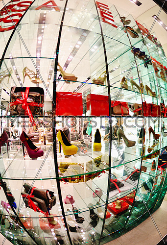 woman shoes in mall market store on sale