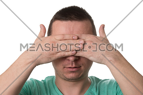 Portrait Of Young Man Covering With Hand His Eyes - Isolated On White Background