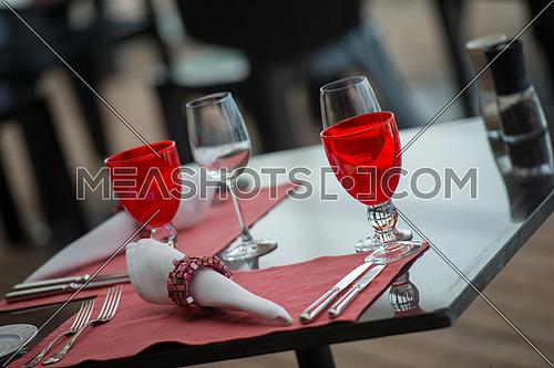 table setting at modern tropical restaurant