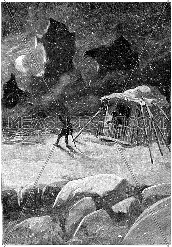 The cry of one who watched, vintage engraved illustration. Jules Verne Cesar Cascabel, 1890.