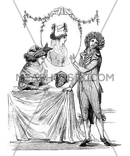 The hat, back to front, and Coiffure buckles, marronner, vintage engraved illustration. Magasin Pittoresque 1880.