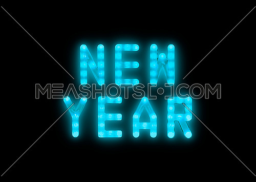 Close up blue neon glowing bright led light NEW YEAR sign on black background