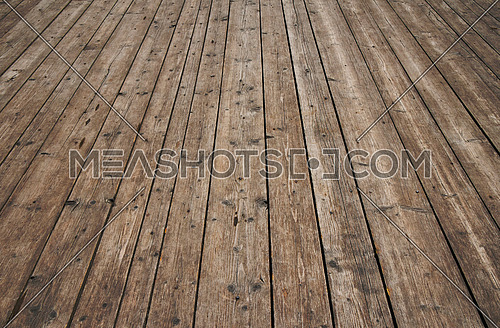 Old vintage rustic aged antique wooden sepia surface with gaps in perspective