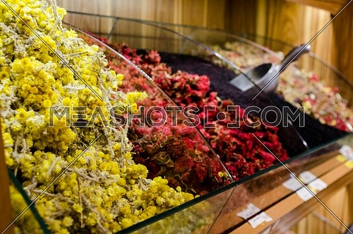 dry fruit and spices display in a shop in the Spice market with a variety of colors and delicious dry fruit are on display