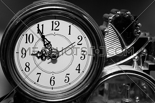 A clock shot in black and white