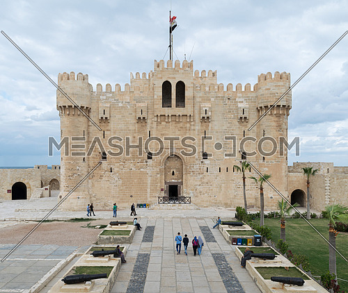 Alexandria, Egypt - December 3, 2015: Qaitbay Castle, Alexandria, Egypt. A 15th-century defensive fortress established in 1477