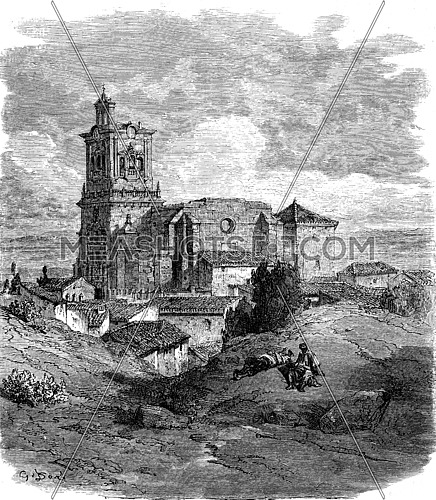 Church of Arcos de la Frontera, vintage engraved illustration. Le Tour du Monde, Travel Journal, (1865).